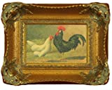 Framed Kitchen Rooster Art, Exquisitely Reproduced Antique Oil Painting of White Hen and Black Rooster