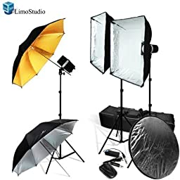 LimoStudio Photo Studio Monolight Flash Lighting Kit with Carrying Case - 3 Studio Flash/Strobe, 2 Softboxes, 2 Reflective Photo Umbrellas, 1 Collapsible Reflector, Wireless Flash Trigger, Carrying Bag, AGG918