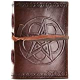 Pentagram Leather Blank Journal w/ Cord. 3 1/2