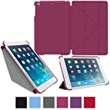 roocase iPad Mini Case - Slim Shell Origami Folio Case Smart Cover for Apple iPad Mini 3 (2014) Mini 2 Retina Display (2013) Mini 1 (2012 Edition), MAGENTA - Auto Sleep/Wake Feature