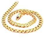 Father's Day Gift Cool Yellow 18k Gold Plated Chain Men's Necklace Kx441x