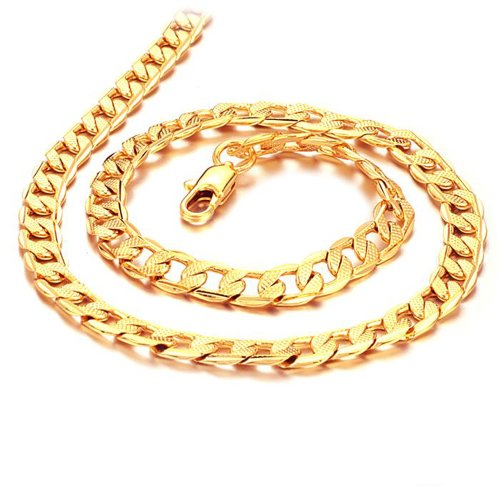 Cool Yellow 18k Gold Plated Chain Men's Necklace Kx441x