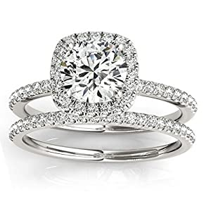 Square Shape Halo Diamond Bridal Set w/ Engagement Ring and Band, Prong Set in 14k White Gold 0.33ct