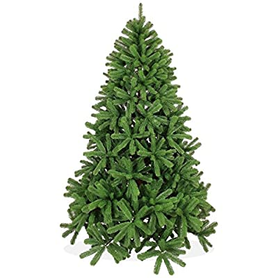 Artificial Christmas tree 7ft / 213cm (210cm) in Premium quality, Douglas fir, perfect PE injection-moulded tips and needles, fold-open system, in green colour, incl. metal stand, hard to inflame, without ornaments, no pre-lit, X-Mas / Xmas by Trendisland