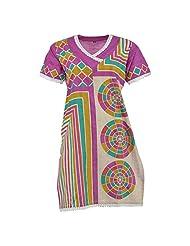 Krisha Fashion Women's Cotton Purple Short Sleeve Kurti