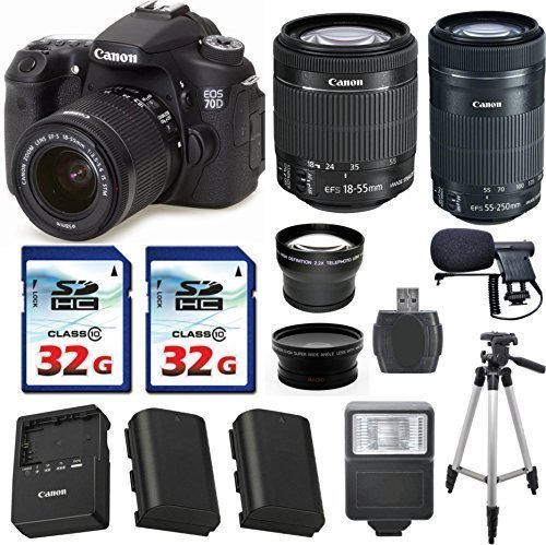 Canon EOS 70D 20.2 MP Digital SLR Camera with Dual Pixel CMOS AF Full HD 1080p Video Bundle + Canon EF-S 18-55mm IS STM + Canon EF-S 55-250mm IS STM Lens + 2pc 32gb Memory Cards + 12pc Accessory Kit (Filming Accesories compare prices)