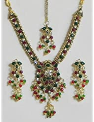White, Maroon And Green Stone Studded Necklace Set With Mang Tika - Stone And Metal