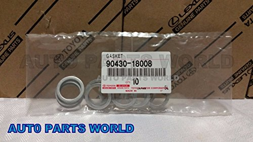 Toyota Drain Plug Gaskets for Transfer Case Set of 10 OEM 90430-18008 (Toyota Oil Drain Plug Washer compare prices)