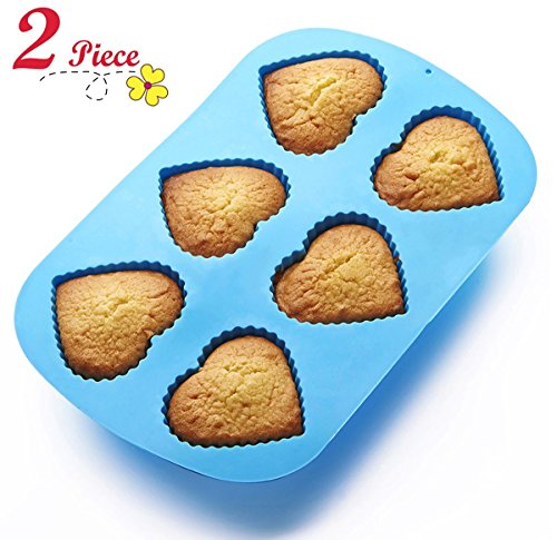 Chefaith 2 Pcs 6-Cup Silicone Muffin / Cupcake Baking Pan [Heart-Shaped Baking Cups] - Non-Stick, Heat Resistant (Up to 480°F) Mini Cake Baking Mold / Tray, Food Grade Reusable Bakeware, Blue (Silicone Muffin Pan Heart compare prices)