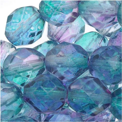 Czech Fire Polished Glass Beads 8mm Round Two Tone Purple/Blue (25) (Glass Bead Oven compare prices)