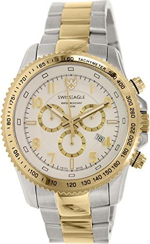 Swiss Eagle SE-9044-44 - Reloj para hombres, correa de acero inoxidable