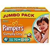 Pampers Simply Dry  Size 4+ Large Pack 70X2 (140 Nappies)