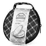 Foxnovo Portable Round Zippered Car Home 20 CD DVD VCD Disc Holder Wallet Storage Bag Case Organizer (Black+White)
