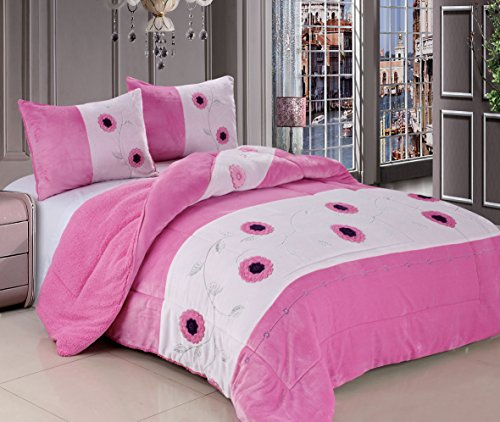 3 Pc Queen Comforter Bedspread Thick Warm Sumptuously Soft Beautifully Embroidered Plush Faux Fur Borrego / Microfiber Reversable Sherpa Winter Blankets Diffrent Colors: Purple, Pink, Brown ,Burgundy, Sage (Pink) front-433970