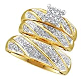 0.2 cttw 10k Yellow Gold Diamond Men and Women Engagement Ring Matching Diamond Wedding Bands Trio Bridal Set (Real Diamonds: 0.2 cttw, Ring Sizes 5-12)
