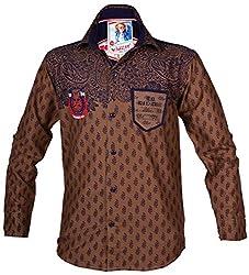 Kidzee 100% Cotton Fashionable Brown Color Designer Floral Printed Shirt