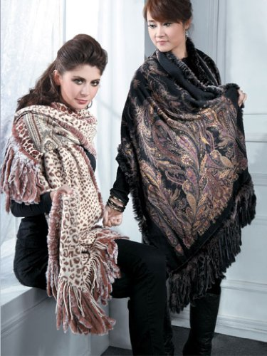 Scarf/wrap-Cashmere reversible print Shawl/fur all around-Cashmere PashminaGroup