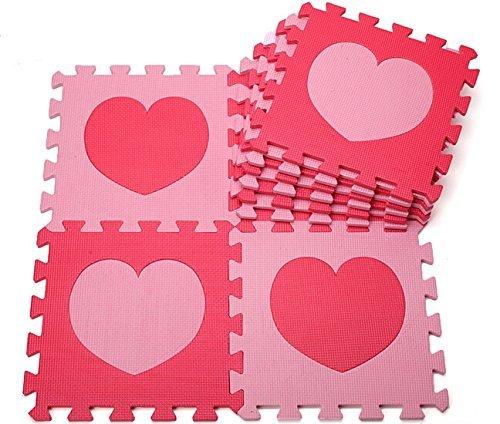 Gearmax® 30x30cm Spielteppich Schaumstoff Puzzlematte SpielMatten für Kinder Weiche Puzzle Mats Kinderteppich EVA-Schaum-Matten Bodenbelag Matten (10 tlg, Rosa und Rot Herz)