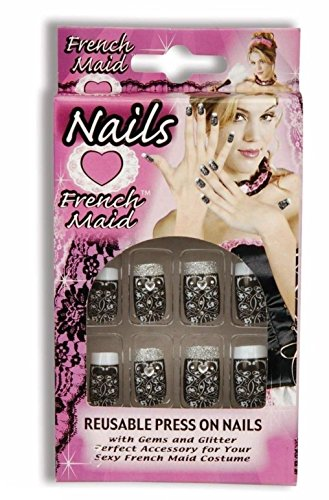 Sexy French Maid Nails Reusable Press On Black White Halloween Costume Accessory