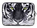 Wayzon Premium Quality Water Resistant Neoprene Soft 11.5 inch X 8 inch Zip Sleeve Case Cover Pouch Skin Holster With Furious Tiger Print Fits upto 12 inch Tablet suitable for Apple iPad Wi-Fi + 3G 1st Generation