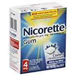 Nicorette Stop Smoking Aid, 4 mg, Coated Gum, White Ice Mint, 100 pieces