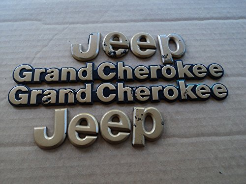 94-95 Jeep Grand Cherokee Gold Hood Logo Side Used Emblem Rear Trunk Script Set of 4 Decals Logos (Cherokee Emblem compare prices)