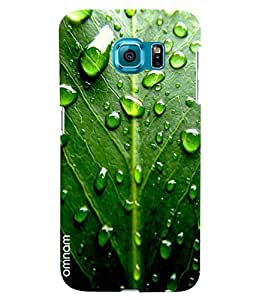 Omnam Green Leaf Effect With Water Drops Printed Designer Back Cover Case For Samsung Galaxy S7 EDGE