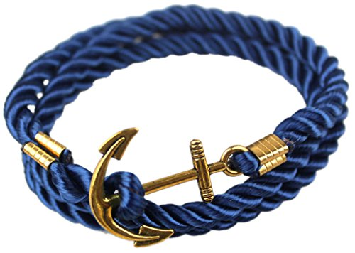 Hallery Alloy Diamond DIY Twining Weave Gilded Anchors Leather Bracelets(No.1)