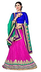 Jiya Presents Embroidered Net Lehenga Choli(Rani,Blue)