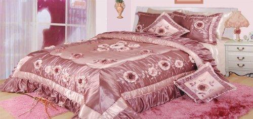 Dada Bedding Bm6001 Princess Polyester Patchwork 5-Piece Comforter Set, Queen/Full, Violet front-920081