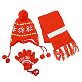CTM® Kids Snowflakes Peruvian Hat Scarf and Gloves on a String Set