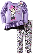 Disney Baby-Girls Infant 2 Piece Minnie Mouse Animal Print Legging Set, Purple Open, 12 Months