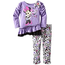 Disney Baby-Girls Infant 2 Piece Minnie Mouse Animal Print Legging Set, Purple Open, 18 Months