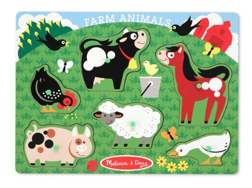 Melissa & Doug Farm Animals Peg Puzzle - 1
