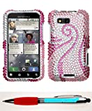 Accessory Factory(TM) Bundle (Phone Case, 2in1 Stylus Point Pen) MOTOROLA MB525 (Defy) Phoenix Tail Full Diamond Bling Protector Cover Stylish Design Snap On Hard Case Faceplate Shell