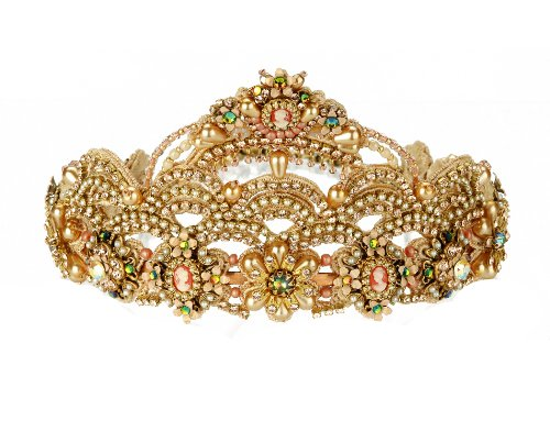 Exquisite Michal Negrin Bridal Tiara with Swarovski Crystal, Flowers and Beads; Unique and Authentic - Special Ordered and Shipped by Genuvo within 2 to 3 Weeks
