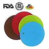 GIWOX シェフサポート 防水なFDAシリコン製 コースター 鍋敷き 鍋蓋置き 耐熱 滑り止め 円形 4色一セット (オレンジ、緑、赤、黄色い)