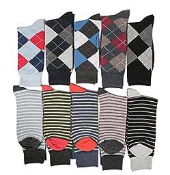 Fine Fit Mens Designer Dress Socks Mixed Pattern Size 10-13 (10 Pairs)