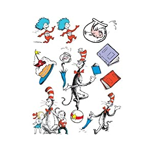Cat In The Hattm Characters Window Clings - Static Cling Vinyl Leaves No Residue Each Sheet Is 12 X 17