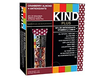 FFP KIND PLUS, Cranberry Almond + Antioxidants, Gluten Free Bars 1.4 OZ (Pack of 12)