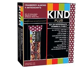 KIND PLUS, Cranberry Almond + Antioxidants, Gluten Free Bars, 1.4 Ounce, 12 Count