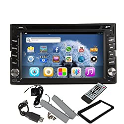 See Pupug Android 4.2 Car Radio GPS Navigation Double Din In Dash Stereo Video Vehicle DVD Player PC Android Phone Screen Mirroring Details