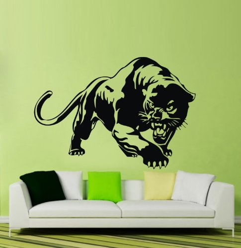 """Colorfulhall 23.6"""" X 31.1"""" Black Wild Zoo Animal Panther Leopard Wall Decals Removable Vinyl Murals Art Room Decor Bedroom Decorations front-694899"""