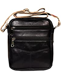 Leather World Genuine Leather Cross Body Sling Bag Multipurpose -10 Inch Tablet / IPad Sling Bag (Black)