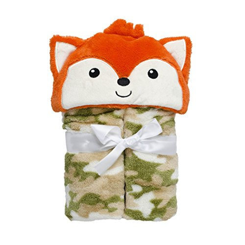 Baby Grear Baby Boys Velboa Plush Hooded Animal Buddy Character Full Expanding Blanket With Gift Wrap Bow, Orange Fox - 1