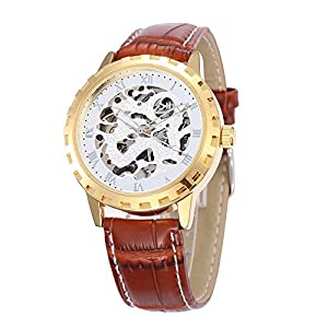 GBI Unisex Business Skeleton PU Leather Automatic Mechanical Men/Women Wrist Watches-Black