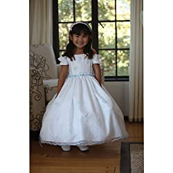 Angels Garment White Dress Size 3T Toddler Organza Floral Flower Girl
