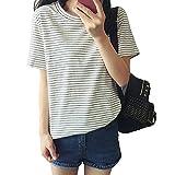 【 Big laugh 】 レディース T シャツ 半袖 ボーダー デザイン シンプル トップス ナチュラル tシャツ かわいい (ホワイト XL)