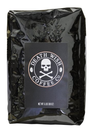 Death Wish Ground Coffee, The World's Strongest Coffee, Fair Trade and Organic, 5 Lb Bag