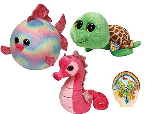 Ty Beanie Babies Pink Majestic Seahorse -Boos Green Zippy Turtle - Ballz Rainbow Fish-set of 3 marine creatures - 6